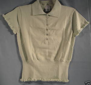 George Polo Flirty Ruffle Short Sleeves Ladies Medium Mint Green Pullover Top