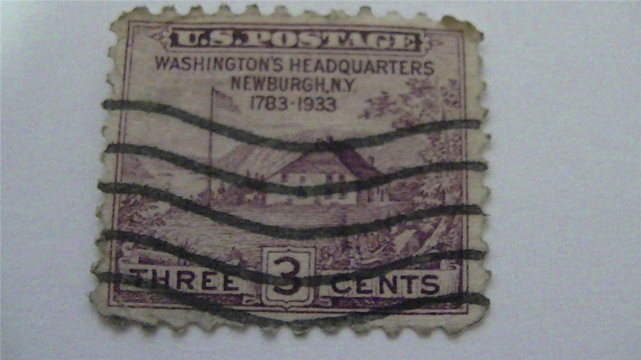 Washington Headquarters Purple Vintage USA Used 3 Cent Stamp