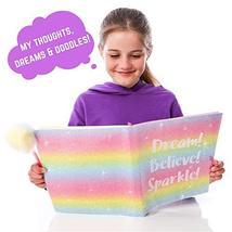 GirlZone: Glitter Rainbow Notebook and Pom Pom Pen Gift Set for Girls image 6