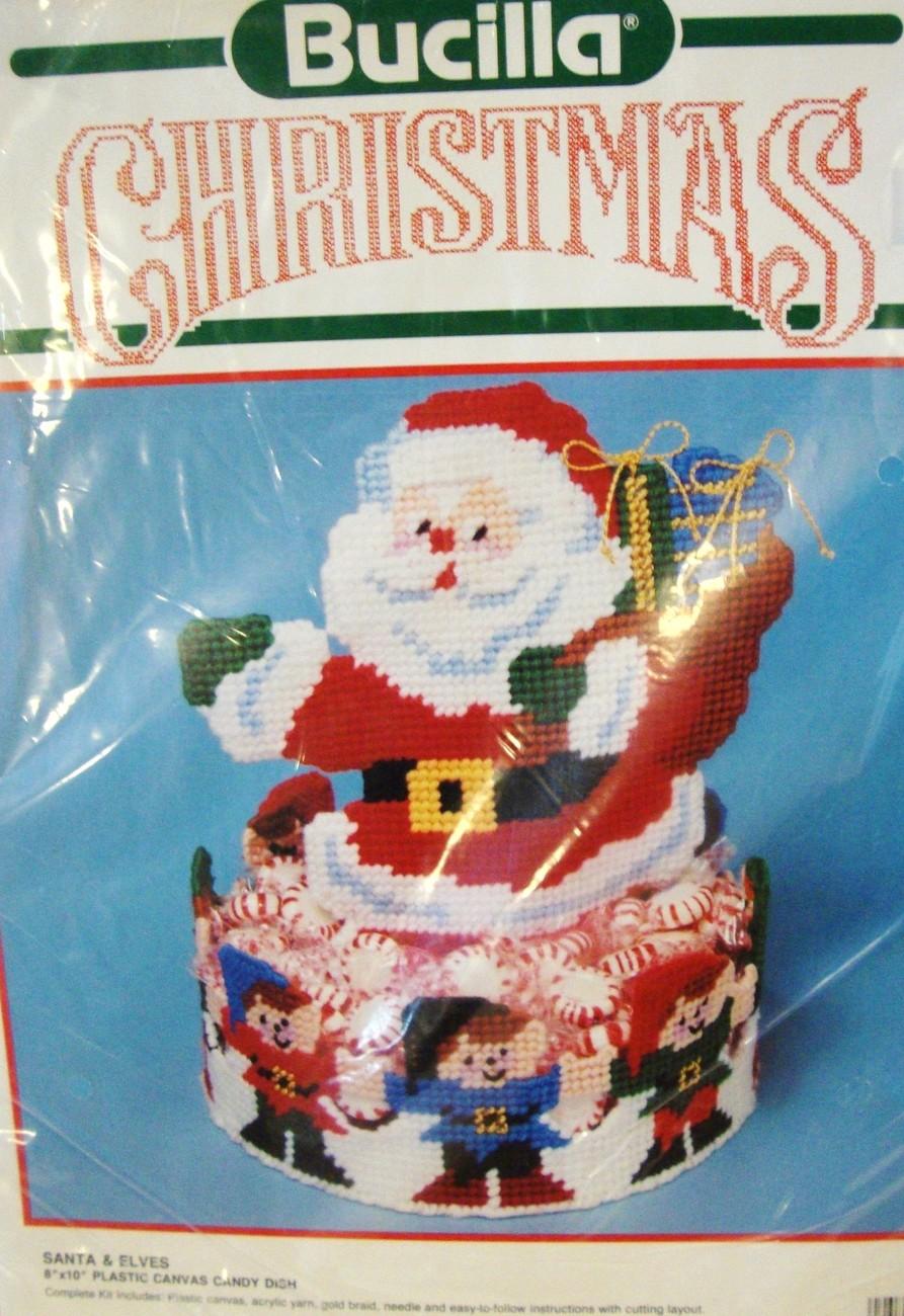 Bucilla Santa & Elves Plastic Canvas Candy Dish  - $29.95