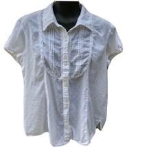 Van Heusen Womens Shirt Size XL Cap Sleeve White Soft Cotton Button Front - $15.34