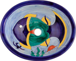 "Mexican Oval Bathroom Sink ""Fish"" - $172.00"