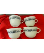 PYREX OLD TOWN BLUE HEAVY COFFEE CUP x 4 FREE USA SHIPPING - $19.64