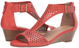Aerosoles Sapphire Sz US 10 M EU 41 Women's Leather T-Strap Wedge Sandals Orange - $59.35