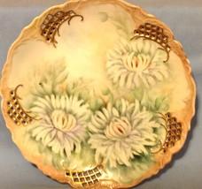 Plate White Peony Hand Painted Pierced Edge Vintage  - $23.76