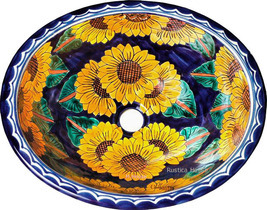 "Mexican Oval Bathroom Sink ""Sunflowers"" - $172.00"