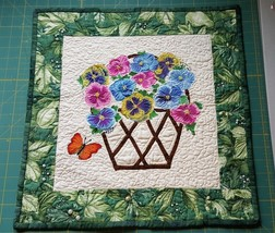 Hand Made Quilt Pansy Bouquet Applique Bead Accents Wall Hanging Table T... - $29.65