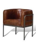 INDUSTRIAL VINTAGE CUBA BROWN TOP GRAIN LEATHER/IRON ACCENT CHAIR,28'' X... - $988.02