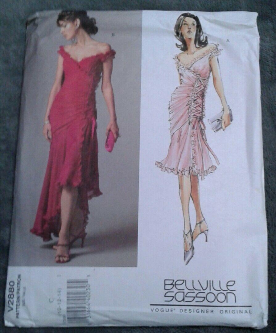 Vogue V2880 Bellville Sassoon Tango Formal Prom Lined Dress Size 10 12 14 UNCUT
