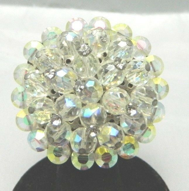 VTG RARE Clear AB Demi Parure Crystal Rhinestone Accented Glass Pin Brooch