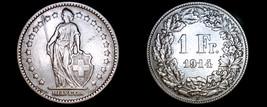 1914-B Swiss Franc World Silver Coin - Switzerland - $39.99