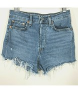 Levis Womens Wedgie Skinny Cut Off Denim Shorts Size 27 Light Wash Butto... - $34.99