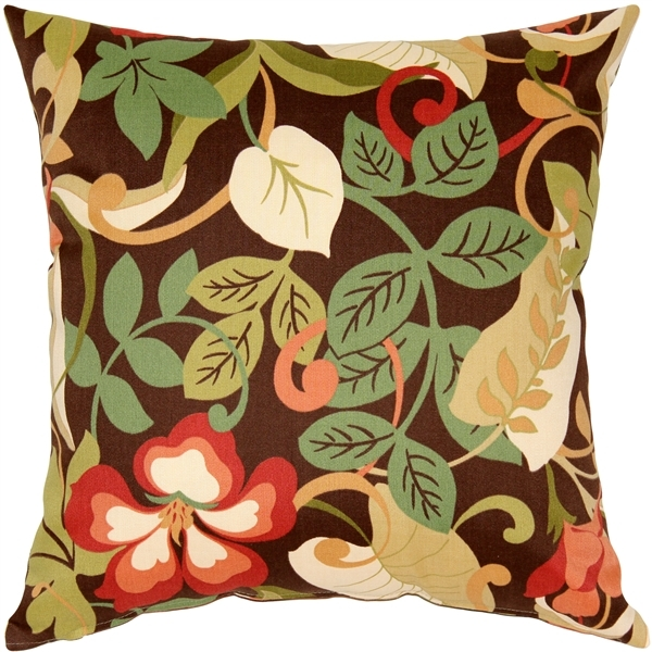 Pillow Decor - Vallarta Brown Floral Outdoor Throw Pillow 19x19