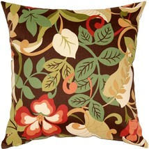 Pillow Decor - Vallarta Brown Floral Outdoor Throw Pillow 19x19 - £30.60 GBP