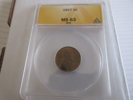 1927 , Lincoln Penny , MS 63 , RB , Anacs - $50.00