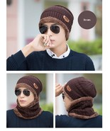 Women Knitted Hat Cap Neck Warmer Scarf Winter Hat Men Brown Fleece Head... - $14.99