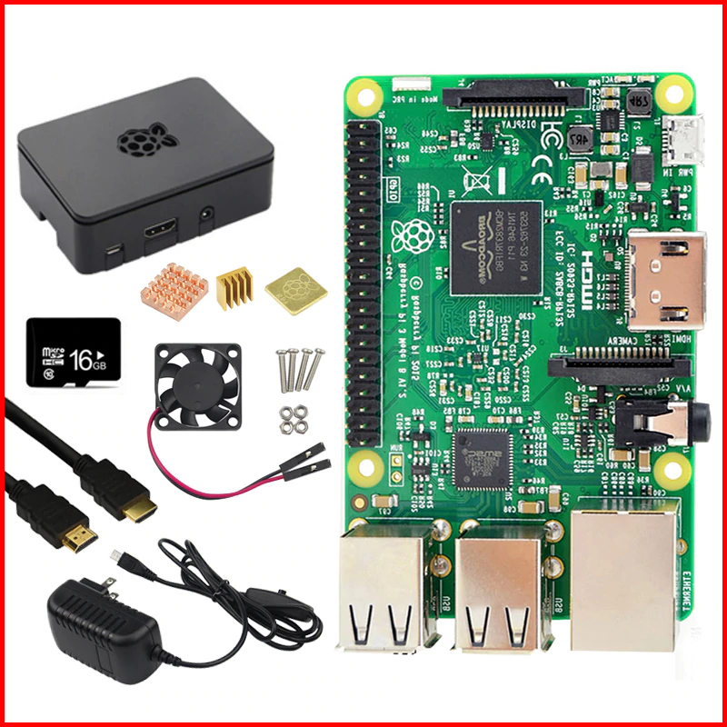 Primary image for Original Raspberry Pi 3 Model B Kit 5V3A Power Supply + 16G SD Card +ABS Case+..
