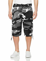Men's Military Army Camo Camouflage Slim Fit Cargo Shorts With Belt - 40
