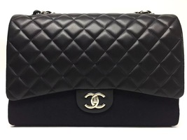 AUTHENTIC CHANEL BLACK QUILTED LAMBSKIN MAXI CLASSIC DOUBLE FLAP BAG GHW - $4,199.99