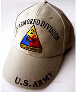 EMBROIDERED US ARMY 2ND ARMORED DIVISION HELL ON WHEELS BASEBALL CAP - $10.70