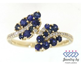Blue Sapphire Gemstone 14K Yellow Gold 0.86CT Leaf Style Diamond Ring Je... - $1,621.00