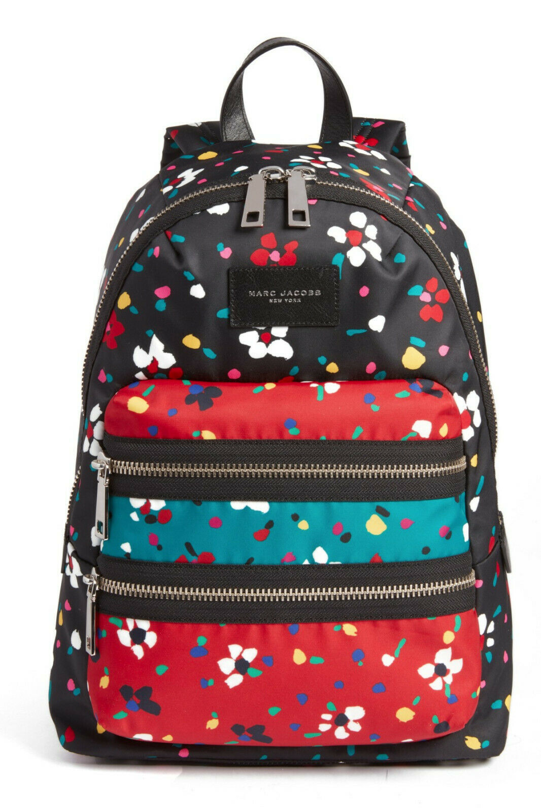 Primary image for NWT Marc Jacobs Floral Biker Backpack Zip Nylon BLACK Multicolor $270 AUTHENTIC!
