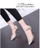 83H027 elegant hollow pointy pump,US Size 4-8.5, gold - $78.80