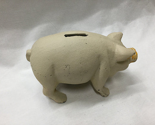 Reproduction Heavy Cast Iron Piggy Bank White in Color