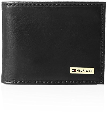 Tommy Hilfiger  Men's  Leather Passcase Wallet,Black Plaque