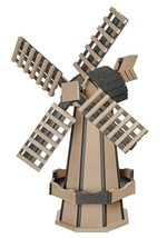 5 FOOT POLY WINDMILL Amish Weatherwood & Black Working Dutch Garden Weat... - $522.35 CAD