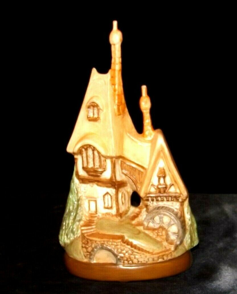 Handcrafted Castle with water wheel  AA19-1653  Vintage Ceramic