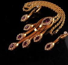 Stunning Vintage rhinestone necklace set - Purple tassel drops - amethys... - $185.00