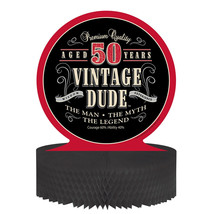 "Vintage Dude 12"" x 12"" Honeycomb Centerpiece 50th, Case of 6 - £28.72 GBP"