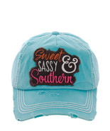 Distressed Country Vintage Style Sweet Sassy & Southern Baseball Cap Hat... - $19.79