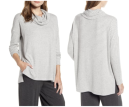 NEW Lou & Grey L Large Brushed Cowl Neck Top Long Sleeve Pullover Stripe... - $22.06