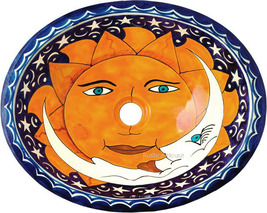 "Mexican Oval Bathroom Sink ""Sun and Moon"" - $172.00"
