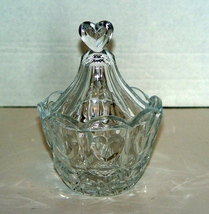 Crystal Lidded Candy Dish with Hearts Motif - $14.00