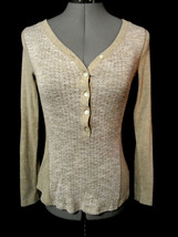 Nwt SANCTUARY Urban Outfitters Henley T-shirt top XS Brown Long sleeve V... - €17,80 EUR