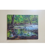 Original drawing Natural landscape Contemporary art, rivers, trees, forests - $250.00