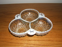 Divided Relish Dish Anchor Hocking Moonstone Opalescent White Bubble Pattern - $8.42