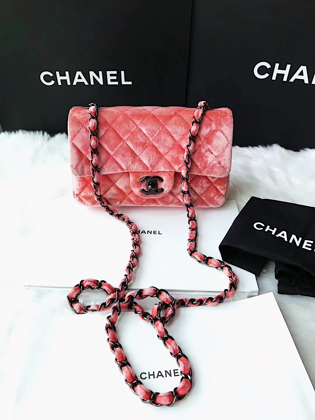 f7bd2d8b58a238 AUTHENTIC CHANEL CORAL PINK VELVET LARGE MINI RECTANGULAR FLAP BAG ...