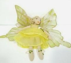 Folkmanis Flower Fairy Finger Puppet Gold Wings Green Yellow Roses Plush  - $29.69