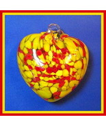 """Hanging Glass Heart 4"""" Red & Yellow Speckles (1) #102 - $14.85"""