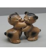 Van Telligen Salt & Pepper Shakers HUGGERS Cork BEAR HUGS Vintage Cuties - $15.83
