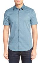John Varvatos Star Usa Slim Fit Micro Print Short Sleeve Sport Shirt, M,... - $1.408,64 MXN