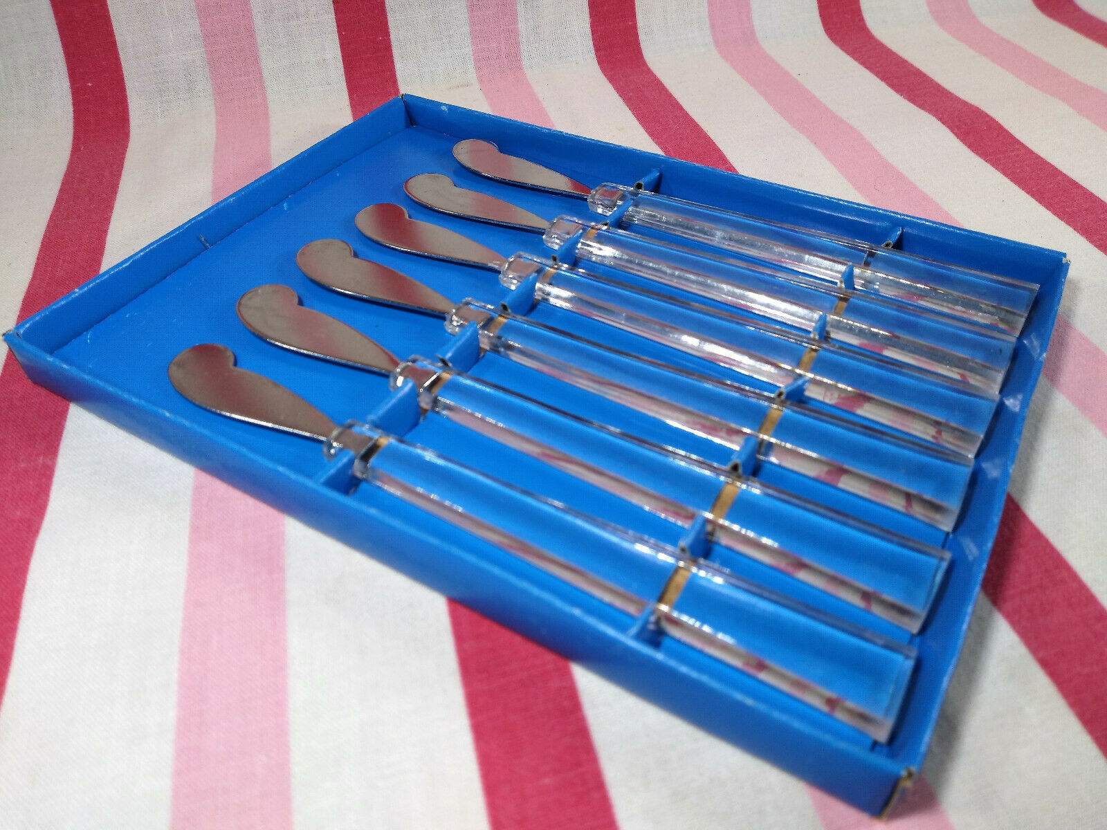 Primary image for Mid Century MoD 6pc Lucite Handle Appetizer Spreaders + Box Stainless Taiwan