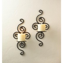 Antiqued Wrought Iron Candle Wall Sconces - $24.95