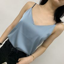 Pale Blue V-Neck Sleeveless Ladies Chiffon Tank Top Wedding Bridesmaid Tanks Top image 2