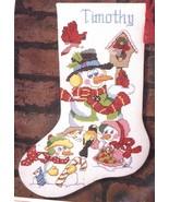 Sunset Snowman & Friends Birds Holiday Christmas Cross Stitch Stocking K... - $44.95