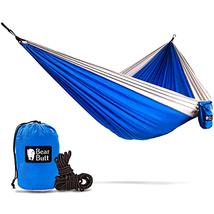 Hammock Camping Gear Double w/ Rope Straps Tree Swings Swing Blue Gray G... - $18.98